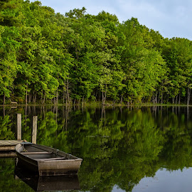 Peaceful morning   by Calvin Morgan - Landscapes Waterscapes ( nature, lake, sunrise, boat, nikon d7000, dock )