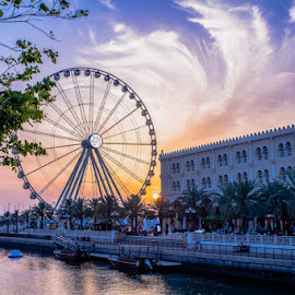 Al Qasba Wheel by Jruzz Merca - Landscapes Travel ( clouds, dubai, sunset, uae, landscape )