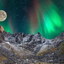 I wish by Marius Birkeland - Digital Art Places ( moon, mountain, snow, aurora borealis, aurora )