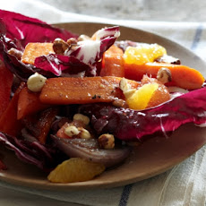 Roasted Carrot, Hazelnut And Radicchio Salad With Honey And Orange