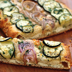 Cheesy Zucchini and Red Onion Flatbread