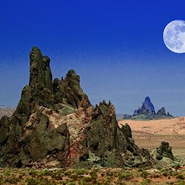 Moonrise on the road by Victor Sanchez - Landscapes Deserts ( mountains, moon, desert, arizona, moonrise,  )