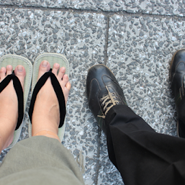 Slippers & Shoes by Julie Ddin - People Body Parts ( shoes, slippers, feet, walk, pained,  )