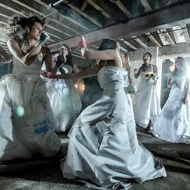 Bride fight club by Michael LaPointe - Wedding Groups ( fight, dress, wedding, bride )
