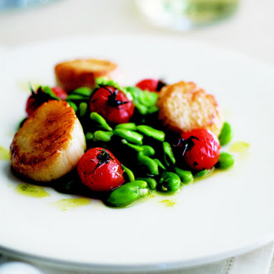 Grilled Scallops with Fava Beans and Roasted Tomatoes