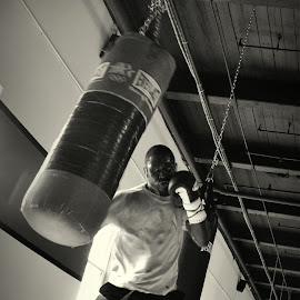 The Champ at Work by Katie Stapleton - Sports & Fitness Boxing ( black and white, sports, boxing, motion, athlete )