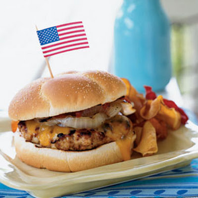 Southwestern Turkey-Cheddar Burgers with Grilled Onions