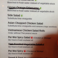 GF menu. Just ask the cashier. I enjoyed the chicken salad rolls, spicy chicken and edamame.