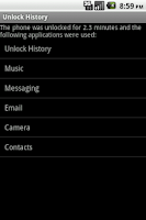 Screenshot of Unlock History