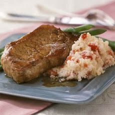 Balsamic Glazed Pork Chops with Red Pepper Grits