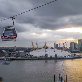 Millennium Dome  by Akar Necati - City,  Street & Park  Skylines ( london cable car, thames, london, canary wharf, landscape, greenwich )