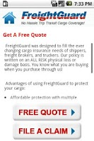 Screenshot of FreightGuard Insurance