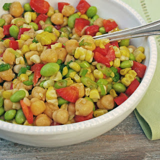 Serious Salads: Chickpeas, Corn and Red Peppers with Honey-Lime Vinaigrette