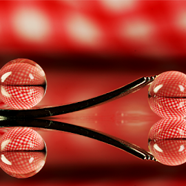 by Dipali S - Artistic Objects Other Objects ( abstract, fork, macro, reflection, red, check, artistic, spheres, refraction )