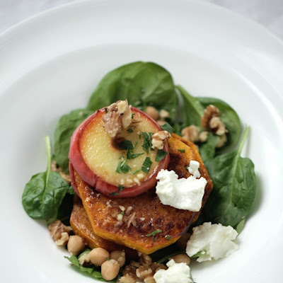 Warm Roasted Pumpkin + Apple Salad With Goats Feta, Walnuts and Apple Balsamic