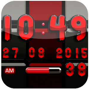 Digi Clock Black Red widget
