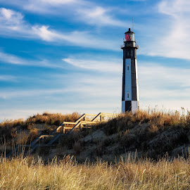 Fort Story Lighthouse by Justin Orr - Landscapes Beaches ( sunset, lighthouse, virginia, ocean, beach, landscape )