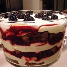 Gingerbread & Lemon Curd Trifle W/ Blackberry Sauce