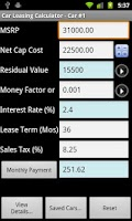 Screenshot of Car Lease Calculator Free