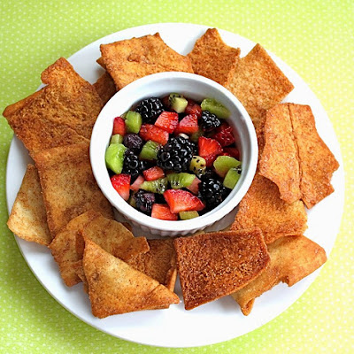 Fruit Salsa with Cinnamon Sugar Pita Chips