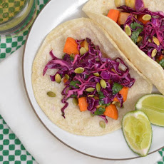 Tacos with Roasted Winter Vegetables and Red Cabbage Slaw