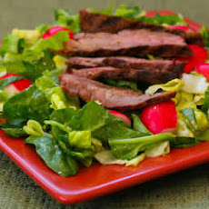 Leftover Steak Salad with Spinach, Radishes, and Gorgonzola Vinaigrette
