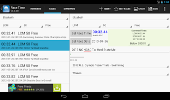 Screenshot of MySwimmingTimes