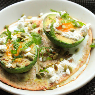 Baked Eggs in Avocado Cups With Feta and Mint