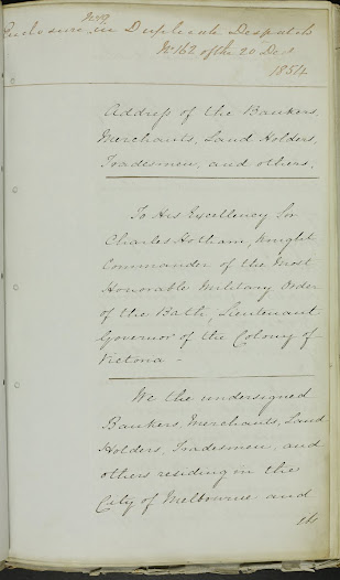 "This letter offers Lieutenant Governor Charles Hotham the support of many of Melbourne's tradesmen, who demonstrate their loyalty to the Crown. <a href=""http://wiki.prov.vic.gov.au/index.php/Eureka_Stockade:Support_for_the_Governor_from_the_Bankers,_Merchants_and_Landholders,_tradesmen"">Click here to see more of this record on our wiki</a>"