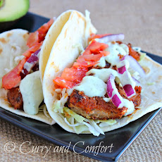 Avocado Ranch Sauce on Cajun Fish Tacos