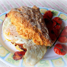 Cheddar and Pepper Breakfast Farls with Eggs, Tomatoes and Crispy Bacon