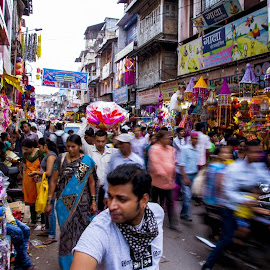Shopping in action by Sohil Laad - City,  Street & Park  Markets & Shops ( diwali, shopping by night, festival of lights, streets, people )