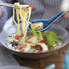 Spiced Chicken Meatballs With Noodles, Basil & Broth