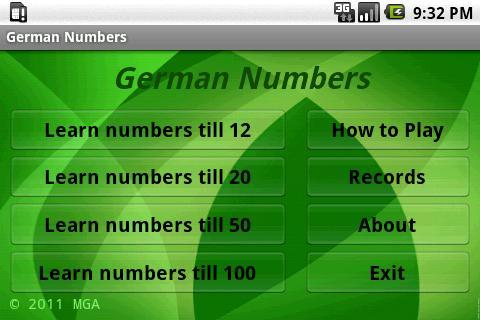 學習德語號碼