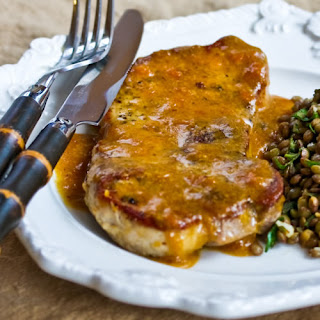 Pan-Fried and Roasted Pork Chops with Apricot-Dijon Sauce