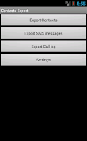 Screenshot of Contacts / SMS /LOG CSV Export