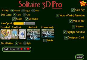 Screenshot of Solitaire 3D Pro