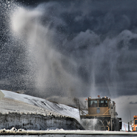 Snowplow by Tina Wiley - Transportation Other ( snowplow, roadways, plowing, traffic, storm, snow plow, roads, snow, winter, cold )