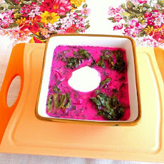 Summer Young Beets and Green Tops Borscht