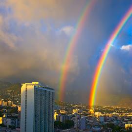 Double Loud Rainbow by Patrick Flood - City,  Street & Park  Skylines ( canon, skyline, photosbyflood, colors, cityscape, rainbow, rain, hawaii, oahu, manoa, waikiki )
