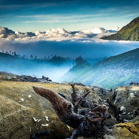 Middle Earth by Jerome Fang - Landscapes Mountains & Hills ( volcano, fog, indonesia, ijen, sunrise, travel, bromo, landscape, surabaya )