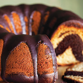 Vanilla and Chocolate Swirl Bundt Cake with Chocolate Fudge Glaze