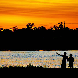 Over There by Anthony Stark - Novices Only Landscapes ( oak lake, over there, novice, silhouette, sunset, lake, landscape, photography )