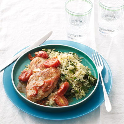 Sautéed Chicken Cutlets and Cherry Tomatoes with Spinach Orzo