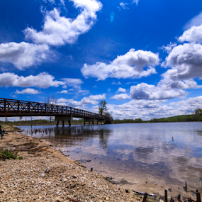 Mallard Lake County Forest Park by MIGUEL CORREA - Landscapes Waterscapes ( water, clouds, sky, sunny, cloudy, cloud, lake, bridge, pond, river )