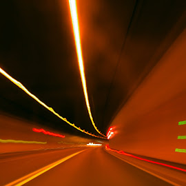 Out of the dark by Christiane Baur - Abstract Light Painting ( driving, fast lightspeed, slow, light, tunnel, , path, nature, landscape )