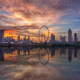 City-Wide Eruption by Chan Wen - City,  Street & Park  Vistas ( reflection, sunset, buildings, on fire, singapore )