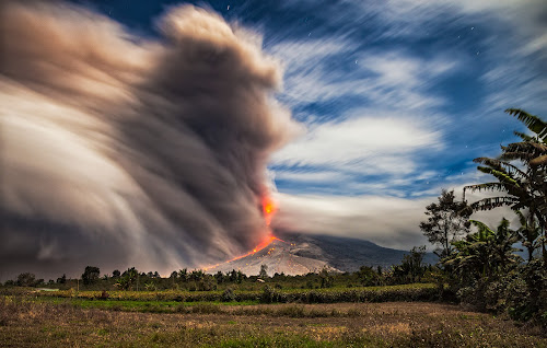 Mount Sinabung Volcano Eruption by Johan Joe - Landscapes Mountains & Hills ( night shot )
