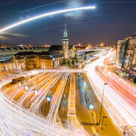 5 hours long exposure by Ace Shooting - Abstract Light Painting ( exposure, train station, transportations, long, luxembourg )