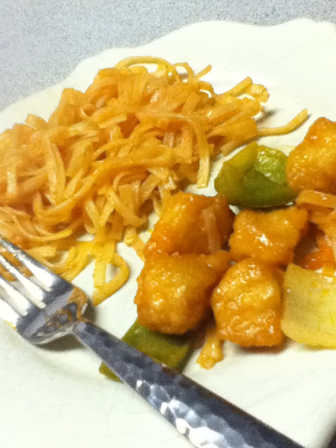 Sweet and sour chicken with rice noodles